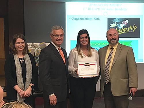 APAS Scholarship Recipient Katie Burdette, with APAS member Mollie Hartup, President Jim Tressel, and APAS President Ed Villone