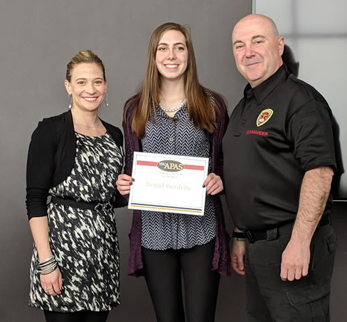 APAS scholarship winner, Brigid Burdette, along with Jennifer Thomas and Ed Villone.